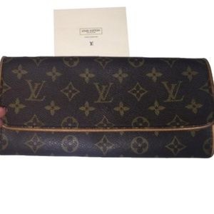 Louis Vuitton Twin Pochette Gm Brown Leather Clutc